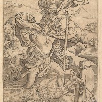 Marcantonio Raimondi; Saint Christopher (Italian engraving after Durer, c. 1500-34)
