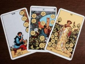 interprétation tarot tirage trois cartes deniers