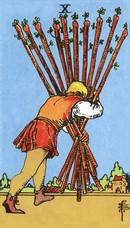 tarot mineures signification bâtons 10