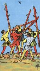 tarot mineures signification bâtons 5