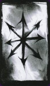 Ritual Abuse Tarot. L'étoile à huit branches est le symbole/logo de la Magie du Chaos.