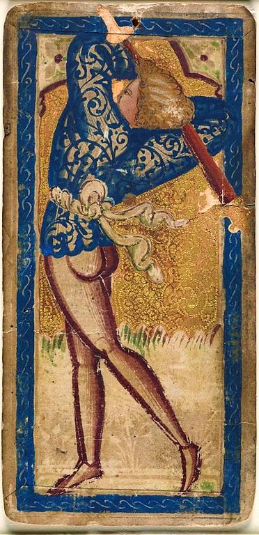 Tarot dit de Rothschild, Valet de Bâtons, Musée du Louvre