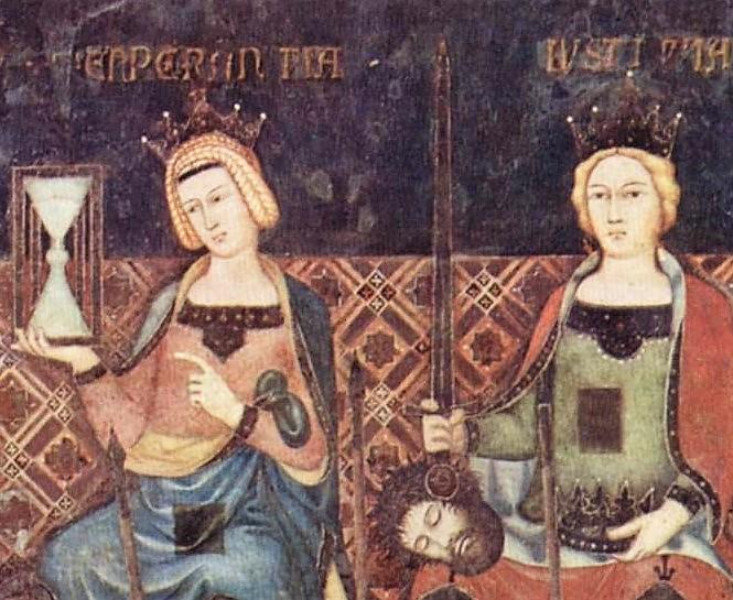 Tempérance et Justice, par Pallazzo Pubblico, vers 1338