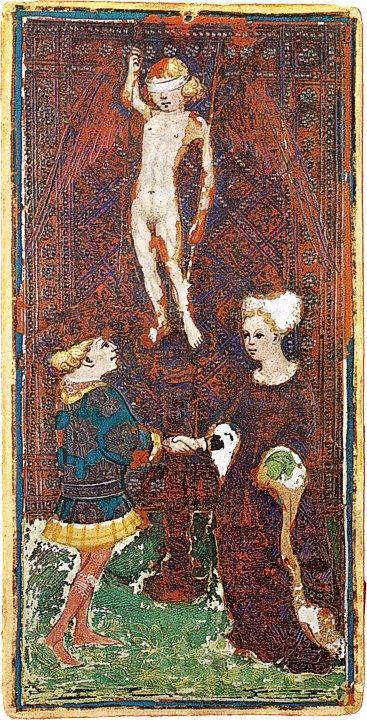 L'Amoureux du Tarot Visconti-Sforza, vers 1445